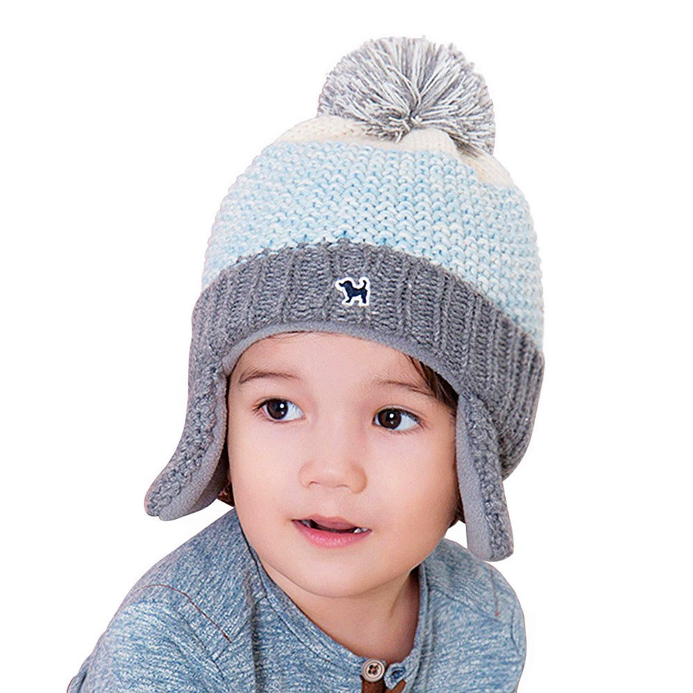 136bcdf71ebf9c Amazon.com: YJH Kids Cuff Knit Beanie Baby Toddler Children Warm Pom Winter  Hat with Earflap Blue: Clothing