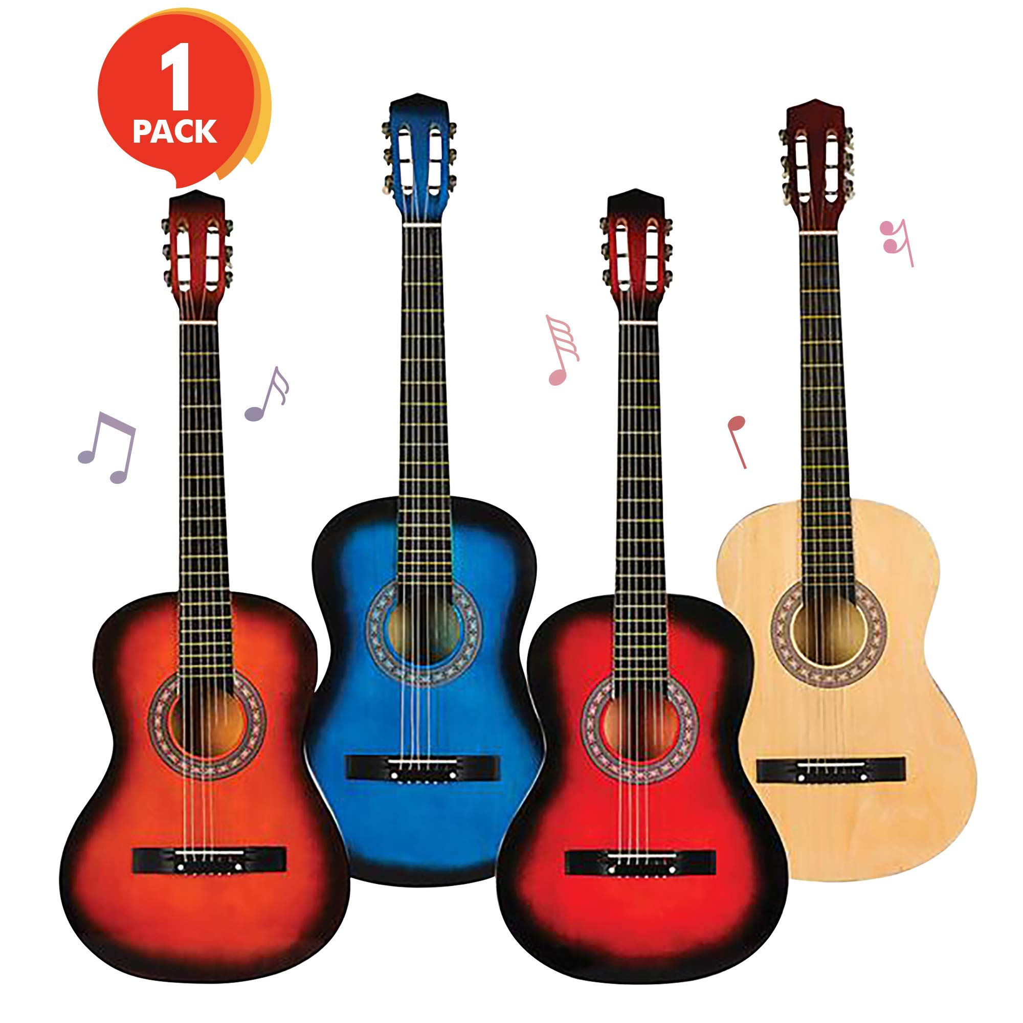 ArtCreativity Huge 6-String Acoustic Guitar - 38 Inches Tall - Colors May Vary - Amazing Gift Idea for Boys and Girls 12+