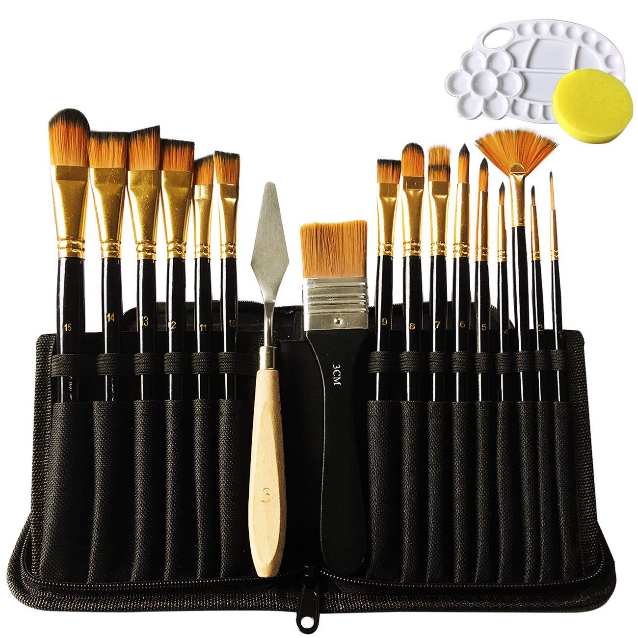 Lasten 19 Pcs Paint Brush Set, Professional Paint Brushes Nylon Hair Artist Acrylic Brush for Watercolor Oil Acrylic Gouache Painting(19 pcs/set)