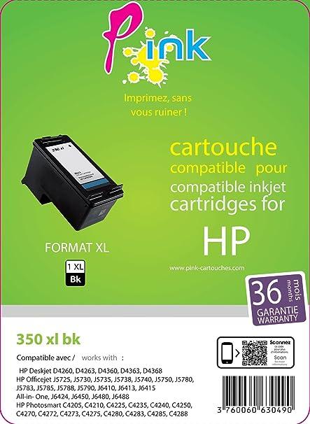 P Ink cartucho de tinta compatible con HP 350BK negro: Amazon.es ...