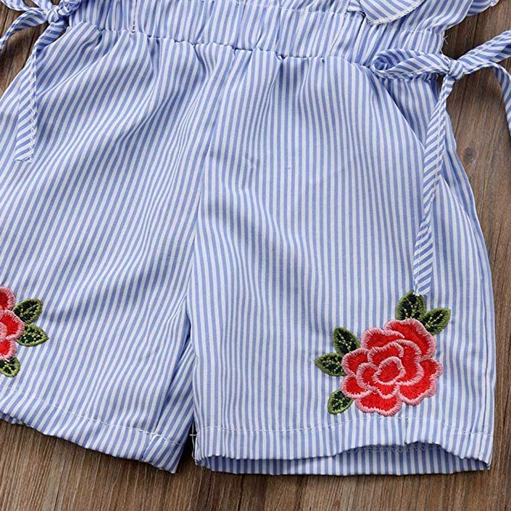 Mericiny 3-10Y Little Girls Kids Baby Off Shoulder Tees Striped Tie Knot Front Camis Tanks