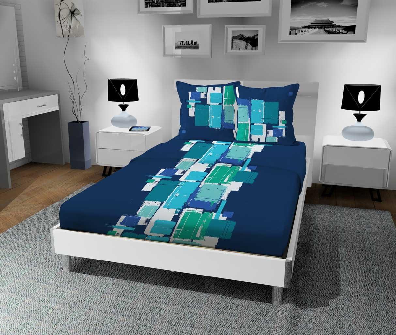 Bleu Soleil dOcre Nux Set de 3 Parure Coton 180x290 cm