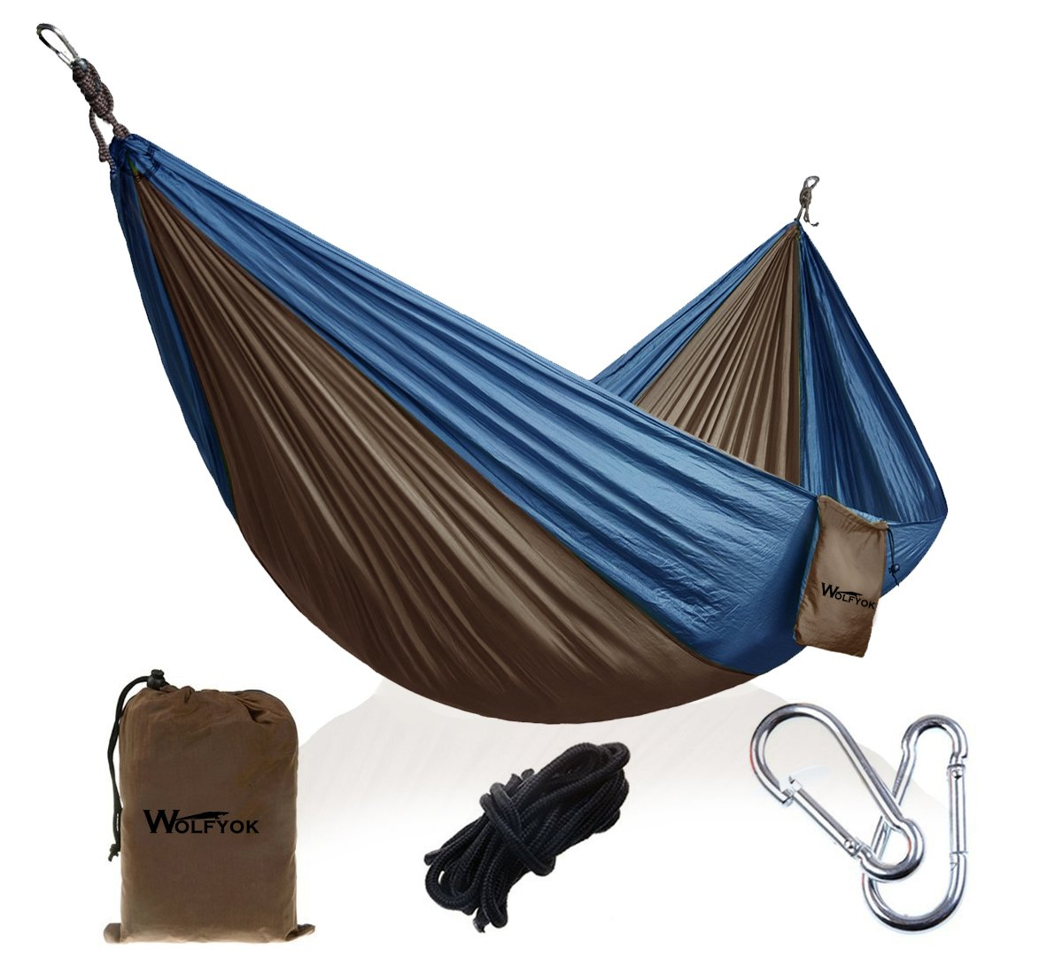 wolfyok Portable Camping Single Double Hammock Lightweight Portable Nylon Hammock with Parachute Nylon Ropes and Solid Carabiners for Backpacking, Camping, Travel, Beach, Yard