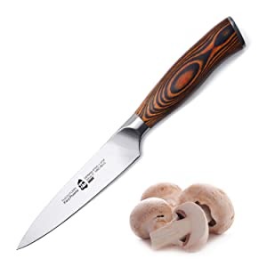 """TUO Cutlery Utility Knife - German Steel with Pakkawood Handle with Case - 5"""" - Fiery Series"""