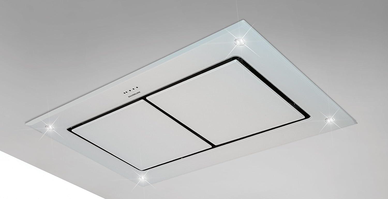 Campara extractora de techo de diseño Dawn T2 de 100 cm, cristal blanco, con motor en línea de 1400 m3/h: Amazon.es: Grandes electrodomésticos