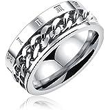 [ティンティンローズ]TingTing Rose ステレンス製 メンズ リング 指輪 回転可能なチェーンテザー ローマ数字 リング 男性指輪 日本サイズ:19号 シルバー