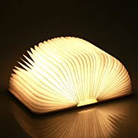 Folding Book Lamp, USB Rechargeable, Wooden Magnetic LED Light, Decorative Lights, Table Lamp, Desk lamp with 1000 mAh…