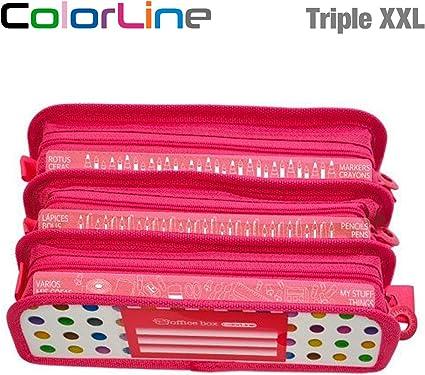 Colorline 58611 - Estuche Portatodo Triple XXL con Fuelle Expandible de Gran Capacidad. Con Indicadores de uso Impresso en cada Apartado. Color Puntos Colores, Medidas 22 x 8 x 13 cm: Amazon.es: Oficina y papelería