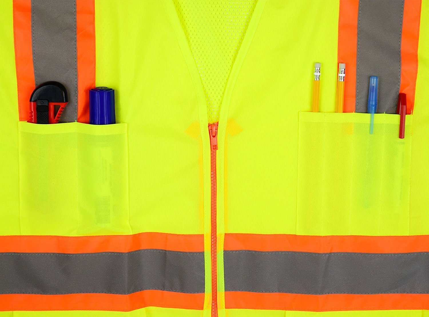 ANSI//ISEA Standard- Class 2 RK Industries Group Inc. Medium, Neon Orange RK Safety 9811 Two Tone High Visibility Safety Vest with Reflective Strips and Pockets