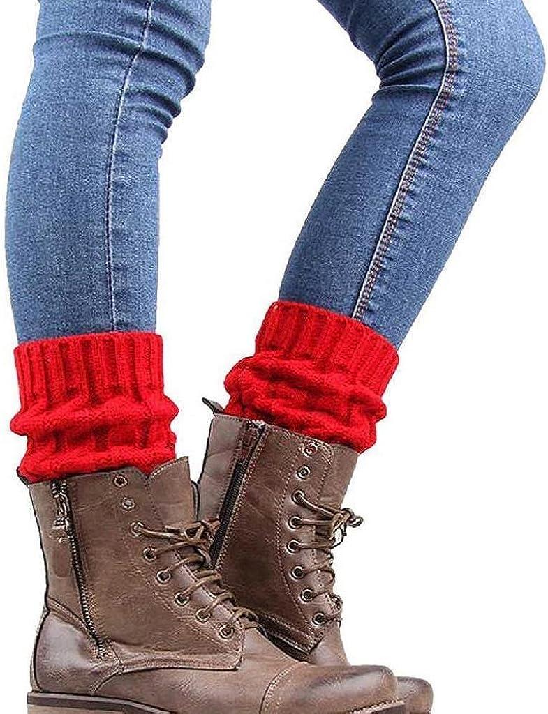 Holacha Calcetines de Piernas Tejidos Botas Botines Calentadores de Punto Invierno para Mujeres Colores Dobles