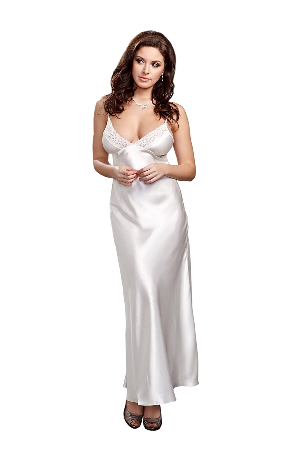iCollection Women's Long Lace Trimmed Satin Gown iCollection Exotic IA 7801