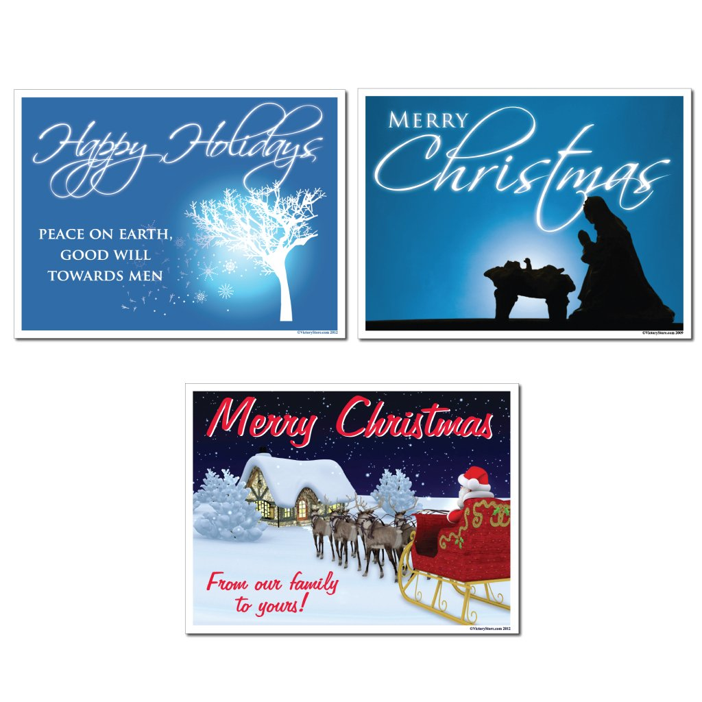 Amazon.com: Merry Christmas Yard Sign Set Of 6 (3 Different Signs)   Yard  Stakes Included: Home U0026 Kitchen