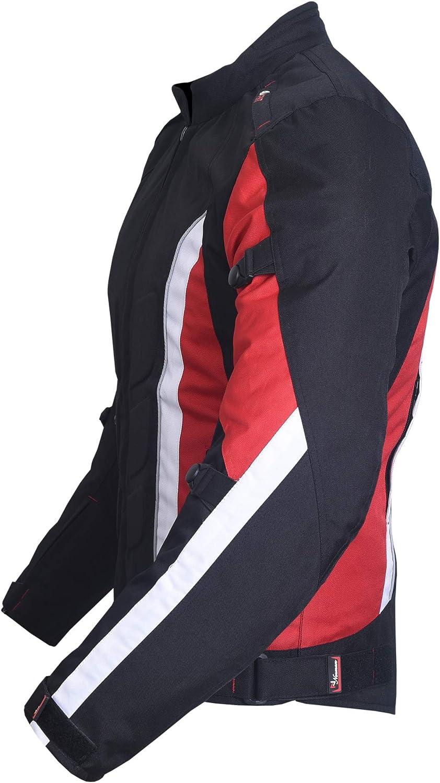 NORMAN Hommes Veste de Moto Imperm/éable Textile Motard Ce Renforc/é Cordura Rouge//Noir