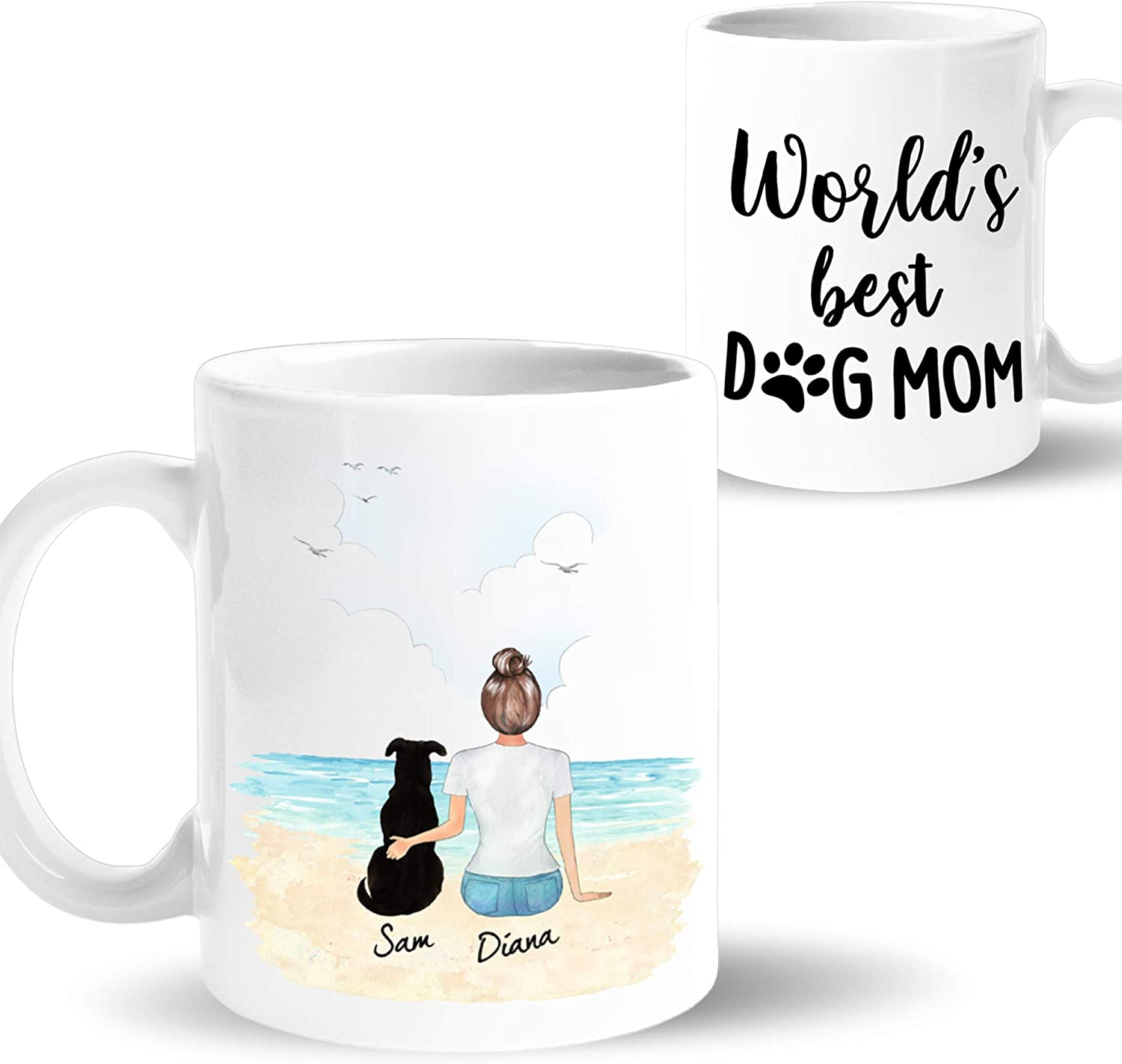 Amazon Com Personalized Dog Mom Coffee Mug Customizable Pet Name And Picture Pet Memorial Cup Custom Gift Idea For Dog Lover Women Mothers Day Christmas 11oz Beach Kitchen Dining
