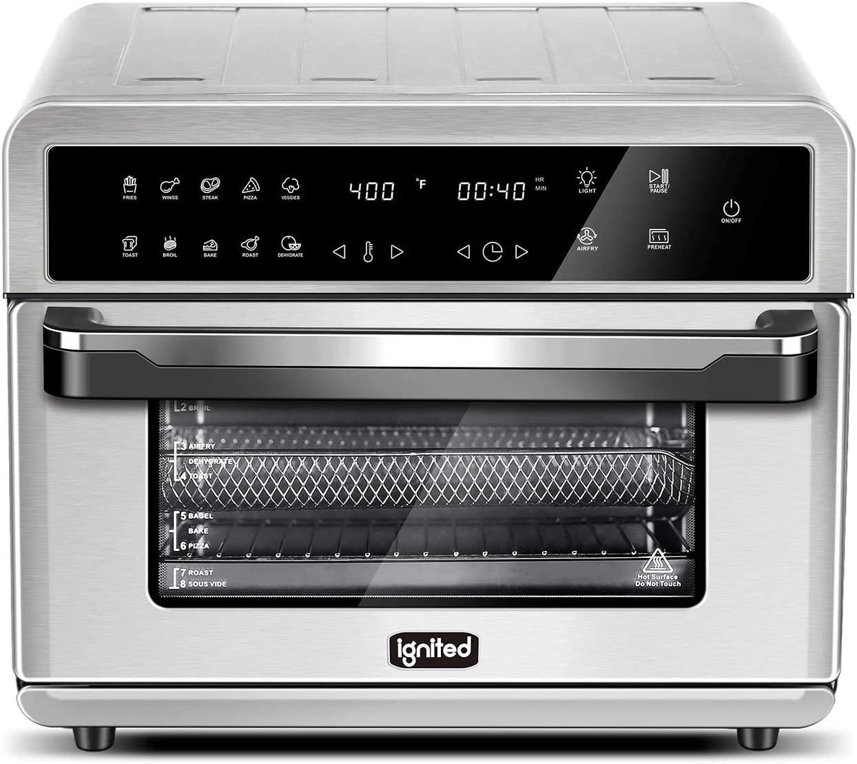 ignited Air Fryer Toaster Oven 26.4 Quarts Family Size Large Capacity Oven For Bake Broil Pizza Roast Toast