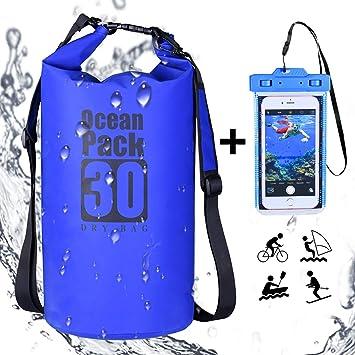 DINOKA Bolsa Seca Impermeable, Bolsas estancas 10L/20L/30L con Caja de teléfono Impermeable Gratis,Dry Bag wateroof para Rafting, Kayak navegación ...