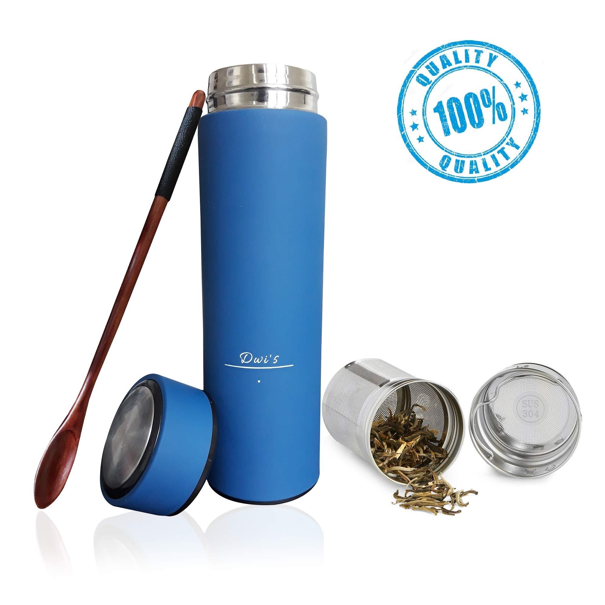 Botella de agua térmica infusor 450 ml + filtro para té infusiones + inserto da fruta