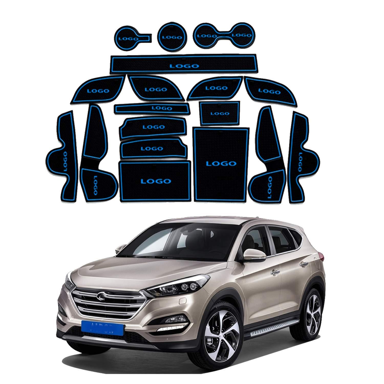YEE PIN Car Door Nut Anti Slip Pad Compatible with Hyundai Tucson TL 2016-2019 Car Interior Water Cup Storage Box Non-Slip Mat Rubber Mat Non-Slip Mats