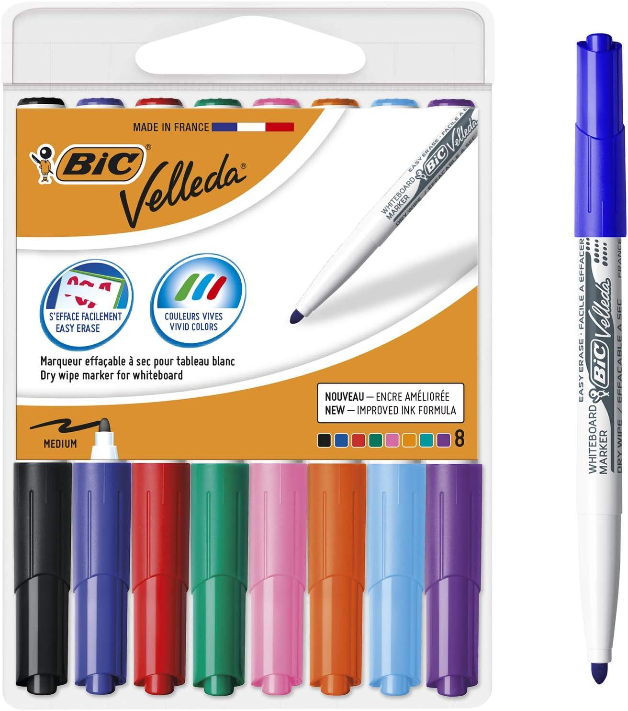 BIC Velleda 1741 marcadores de pizarra punta media para pizarra blanca – Caja de 8 unidades, colores surtidos, material oficina, material escolar