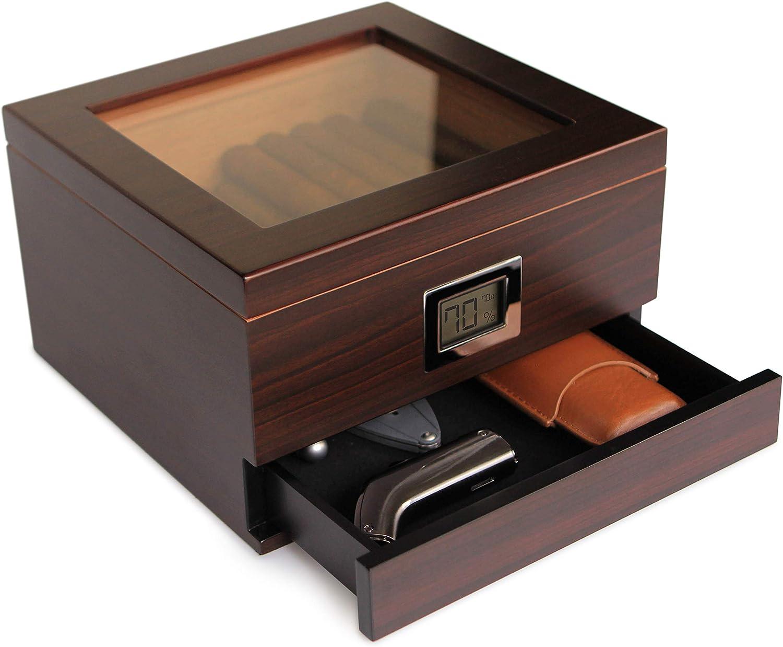 CASE ELEGANCE Humidificador de Cedro Hecho a Mano con Higrómetro Digital Frontal, Solución Humidificadora y Cajón de Accesorios - Capacidad de 25 a 50 cigarros