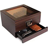 Glass Top Handcrafted Cedar Humidor with Front Digital Hygrometer, Humidifier Gel, and Accessory Drawer - Holds (25-50…
