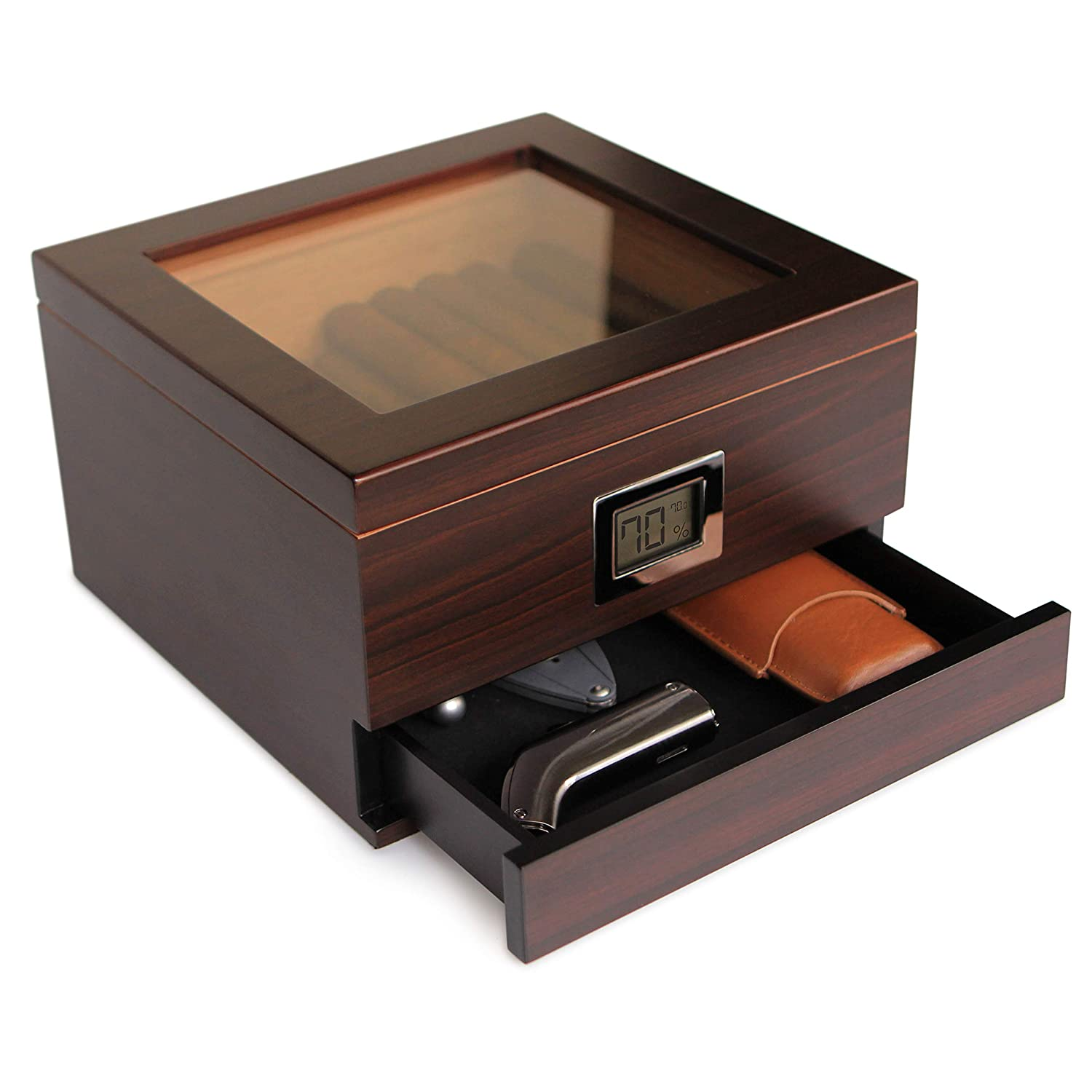Glass Top Handcrafted Cedar Humidor with Front Digital Hygrometer, Humidifier Gel, and Accessory Drawer - Holds (25-50 Cigars) by Case Elegance