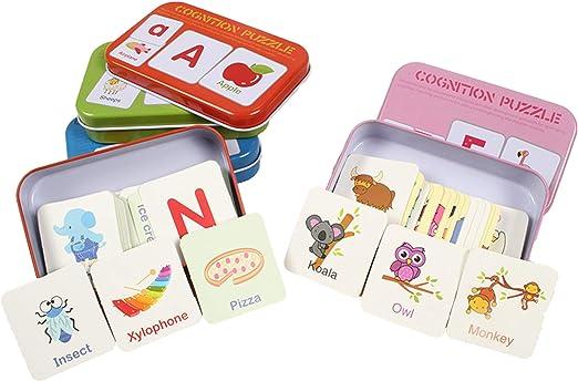 HorBous Tarjetas de Aprendizaje Alfabeto Números Colores Formas Animales para Niños (Inglés)  (Rojo + Verde + Azul + Rosa): Amazon.es: Juguetes y juegos