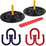 Outdoor Backyard Horse Shoes Games Set for Kids and Adult Indoor Family Lawn Yard Outside Game Includes 6 Horseshoes - 2 Pegs