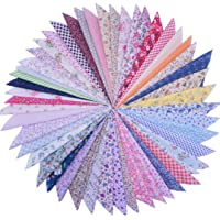 Phantomon 50pcs Cotton Fabric Craft Linen Square Precut Patchwork Sheets for Quilting, Sewing, Scrapbooking, Simplicity…