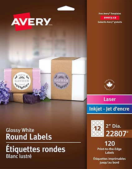 7f4a829990 Amazon.com : Avery Round Labels, Glossy White, 2-inch size, 120 ...