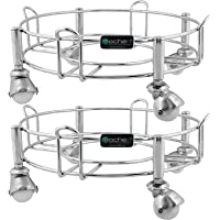 mochen Stainless Steel Cylinder Trolley with Wheels/Gas /LPG Stand (Pack of 2)