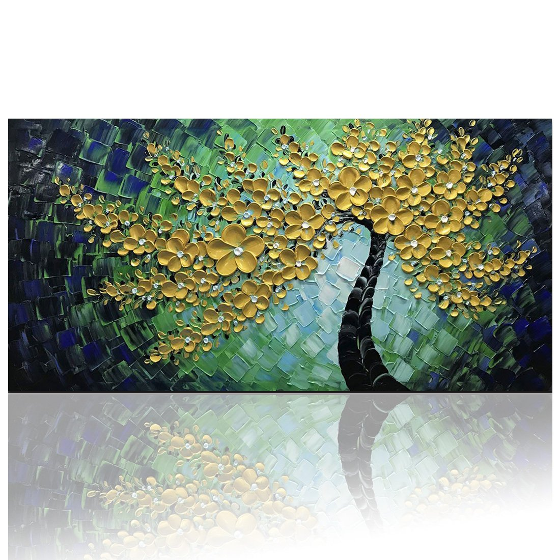 Amazon com desihum green tree wall art on canvas abstract oil paintings modern artwork framed art wall decor hand painted picture 24x48inch paintings