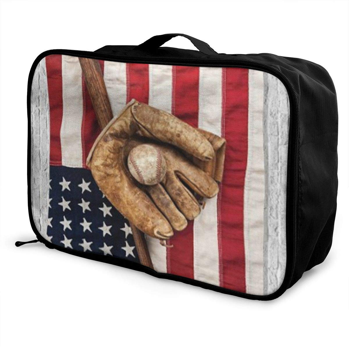 ADGAI Baseball with USA American Flag Canvas Travel Weekender Bag,Fashion Custom Lightweight Large Capacity Portable Luggage Bag,Suitcase Trolley Bag