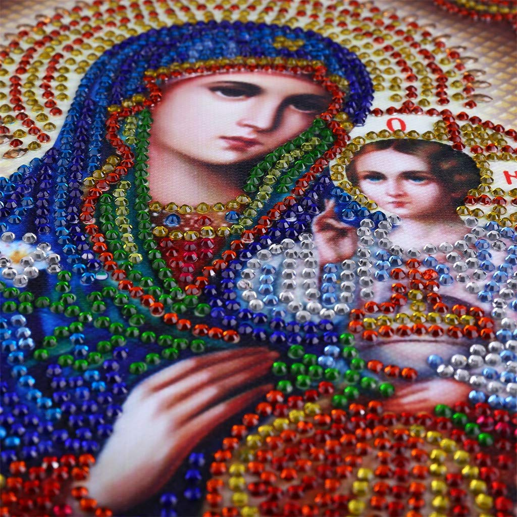 DIY 5D Diamond Painting Religious Partial Drill Rhinestone Embroidery Dotz Cross Stitch by Number Kit Home Wall Decor for Adults Kids Beginner (A) by Codiak-Decor (Image #6)