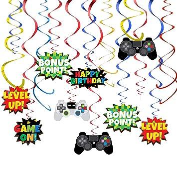 KRUCE 36 Piezas de Videojuegos, decoración de Remolino Colgante, Fiesta de Juegos temática para niños y Suministros para Fiestas de Adultos