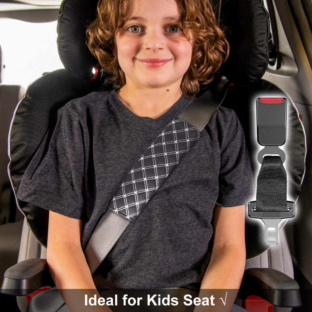Seat belt Extenders /& Pads Kit for Cars 7//8 Seatbelts Extension Adjuster for Adults and Kids E4 Safety Certified