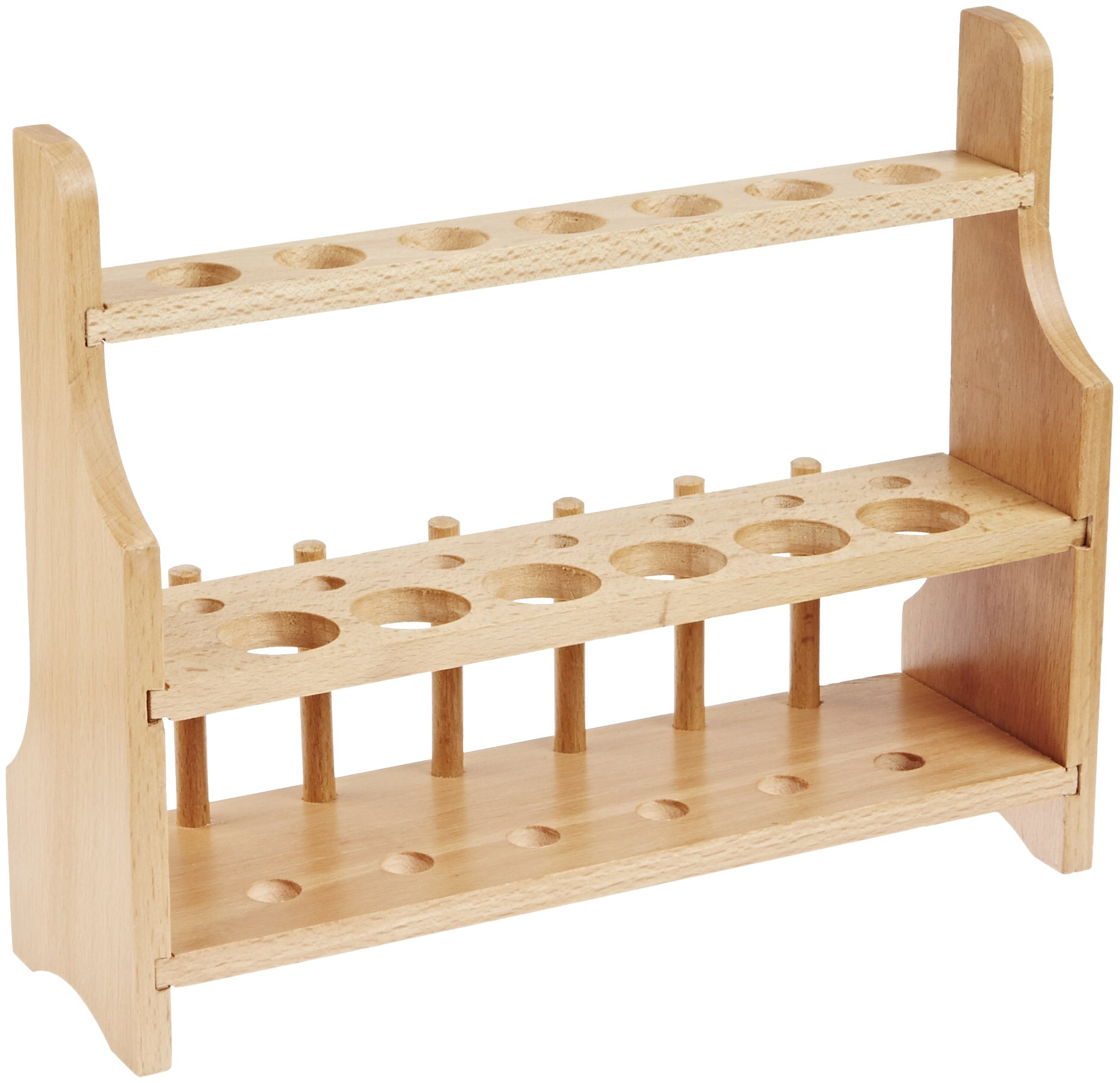 Eisco CH0003C Wood Test Tube Rack, 13 Hole, 6 Pin - 2 Shelves, 20-25mm by EISCO