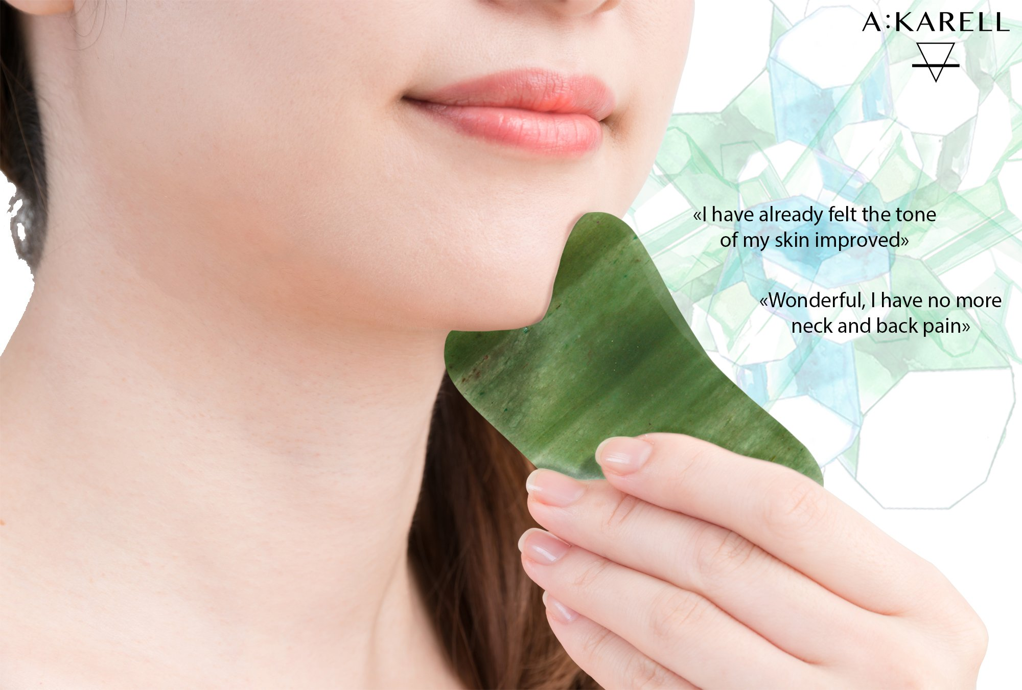 A:KARELL Jade Roller For Face & Gua Sha SET 100% Real Chi Himalayan Jade Anti Aging Skincare Therapy Tool Jade Facial Roller Depuffing Anti-Wrinkle Facial Roller De Puffer Massager by A : KARELL
