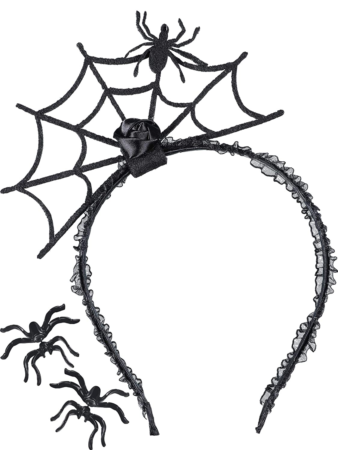Tatuo 3 Pieces Halloween Spider Earrings Studs Web Headband for Party Supplies Tatuo-Spider Ear Stud-01