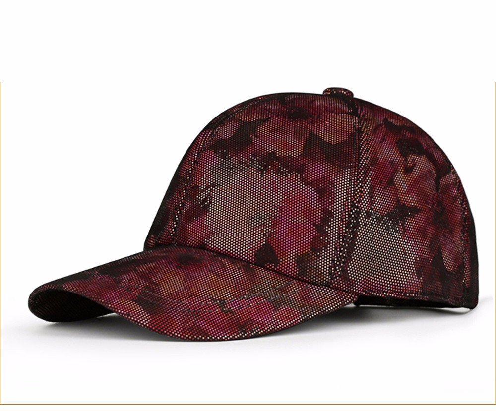 Gules Women's leather printing lady baseball cap men and women autumn and winter thin cotton casual leather hat (5660CM), adjustable,silvery