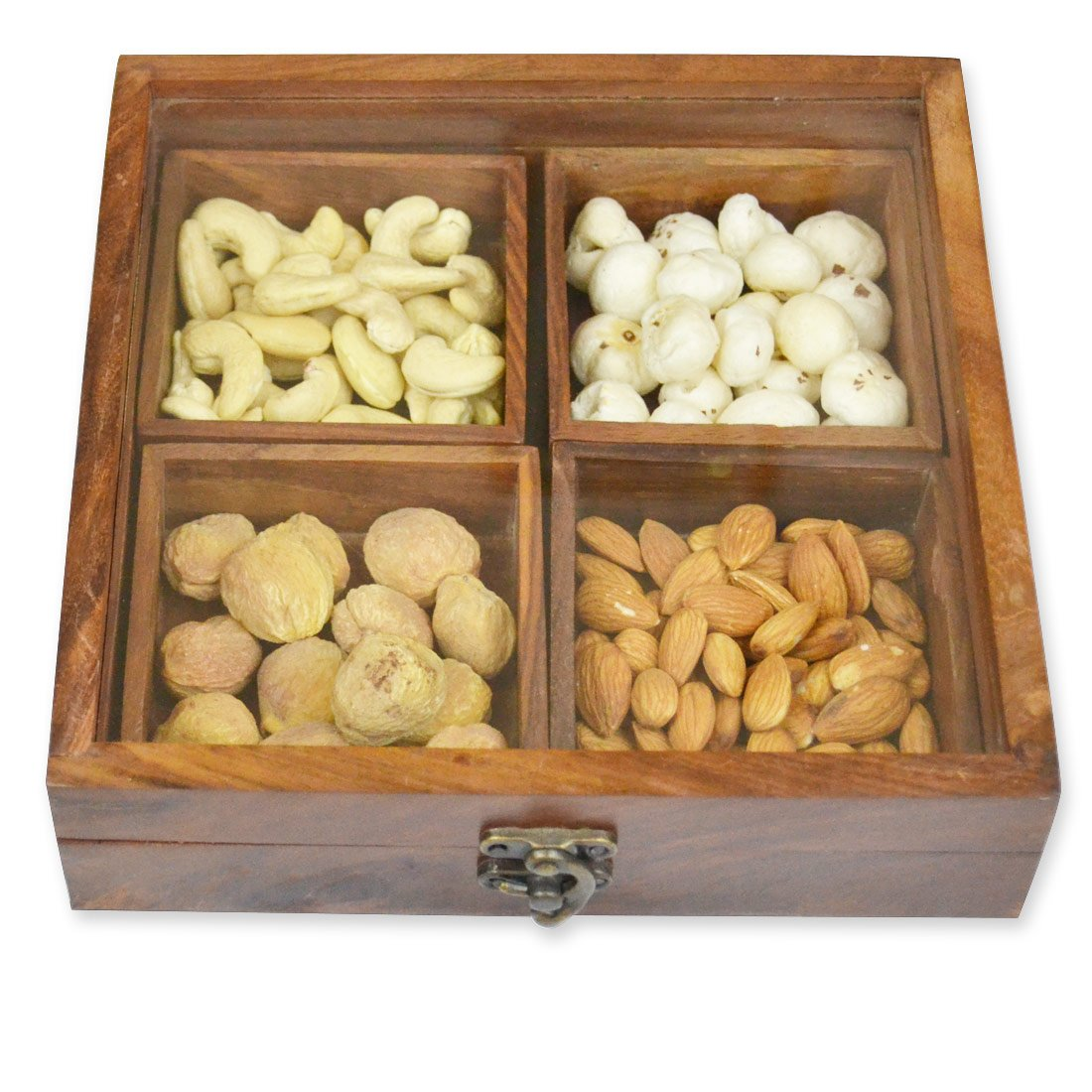 Buy SPECTRAHUT Sheesham Wooden 4 Container Dry Fruit Box With Laxmi Charan Plate Brown 55 Inch Online At Low Prices In India