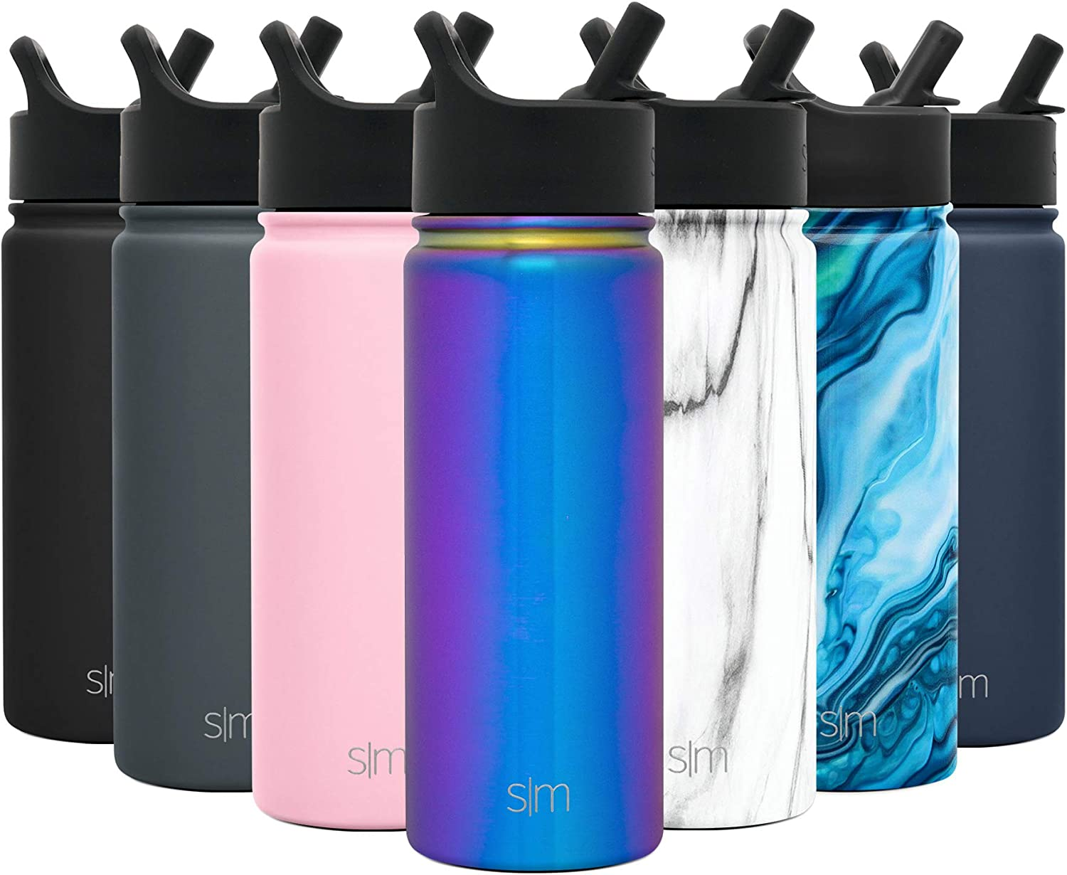 Simple Modern 14oz Summit Water Bottles with Straw Lid - Dishwasher Safe Vacuum Insulated Tumbler Double Wall Travel Mug 18/8 Stainless Steel Flask - Prism