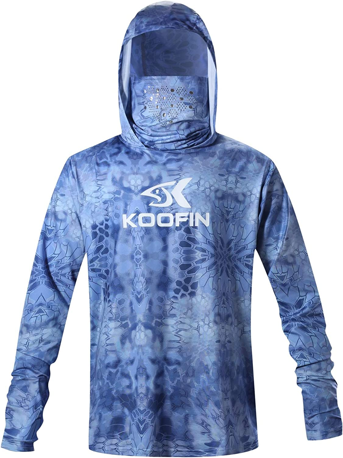 Performance Fishing Hoodie with Face Mask Hooded Sunblock Shirt Sun Shield Long Sleeve Shirt UPF50 Dry Fit Quick-Dry: Clothing
