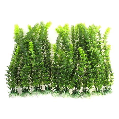 sourcing map 10pcs Acuario Algas Marinas Emulación de paisajismo decoración vegetal submarina 30cm de alto.