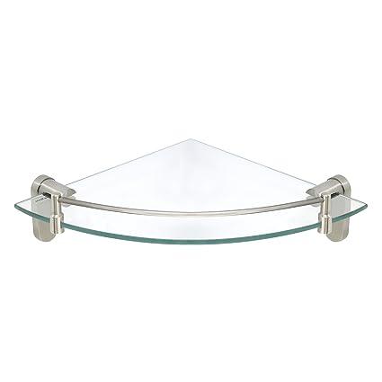 Amazon.com: MODONA Corner Glass Shelf with Rail – Satin Nickel ...