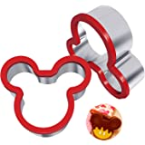 Hibery 2 Pack Stainless Steel Sandwiches Cutter, Mickey Mouse Cookie Cutter, Food Grade Stainless Steel Biscuit Mold Cookie Cutter for Kids Suitable for Cakes and Cookie