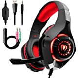 Gaming Headset for PC PS4, Stereo Surround Sound Gaming Headphones with Noise Cancelling Microphone Volume Control LED Lights