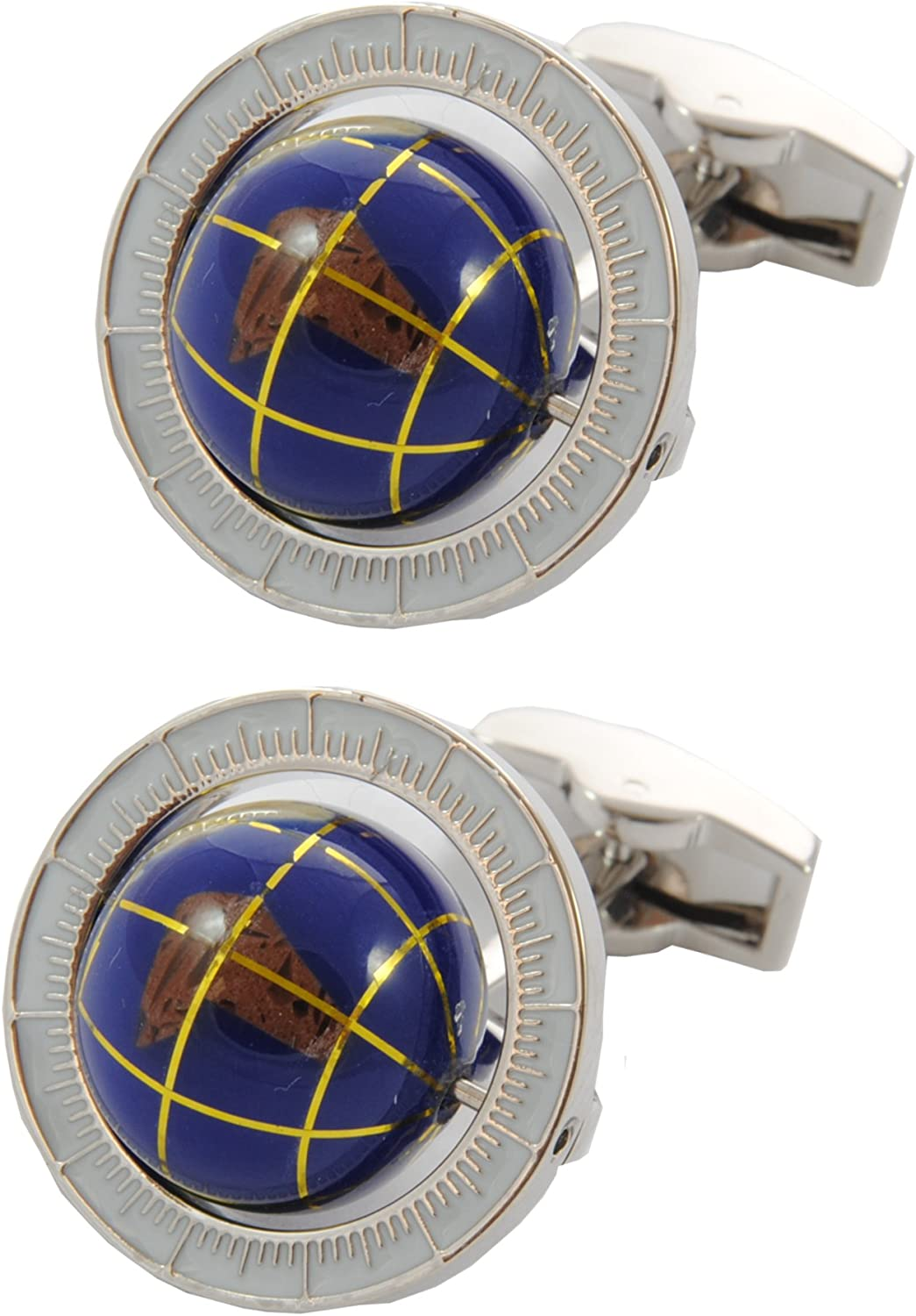 COLLAR AND CUFFS LONDON - Premium Cufflinks with Gift Box - Spinning Globe - Travel The World - Round Earth Rotating - Blue Color