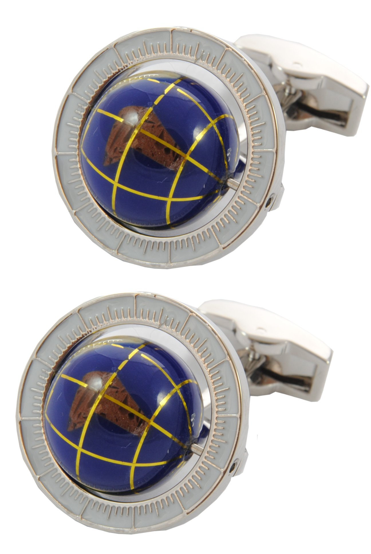 COLLAR AND CUFFS LONDON - PREMIUM Cufflinks WITH GIFT BOX - Spinning Globe - Travel the World - Round Earth Rotating - Blue Colour