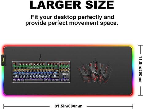 Hcman Alfombrilla de Ratón RGB Juegos Grande,(800×300×4mm) XXL Ampliado Conducido Mousepad con Base de Goma Antideslizante, Alfombrilla de Ratón de ...
